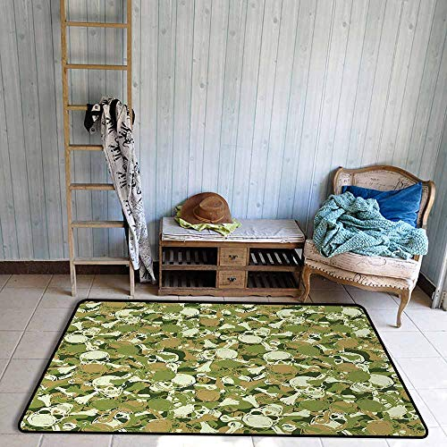 Interior Door Rug Bathroom Rug Slip Camo Sketchy Skulls and Crossbones Warning Sign Spooky Scary Horror Tile Personality W67 xL79 Light Brown Green Light Green