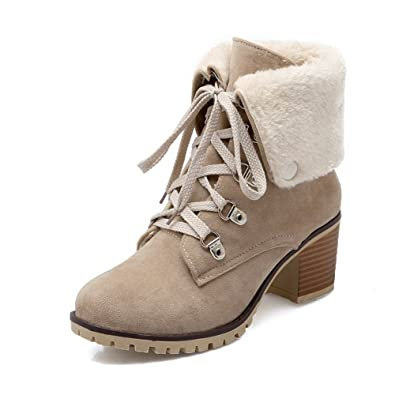 Women's Round Closed Toe Lace Up Imitated Suede Solid Kitten Heels Boots