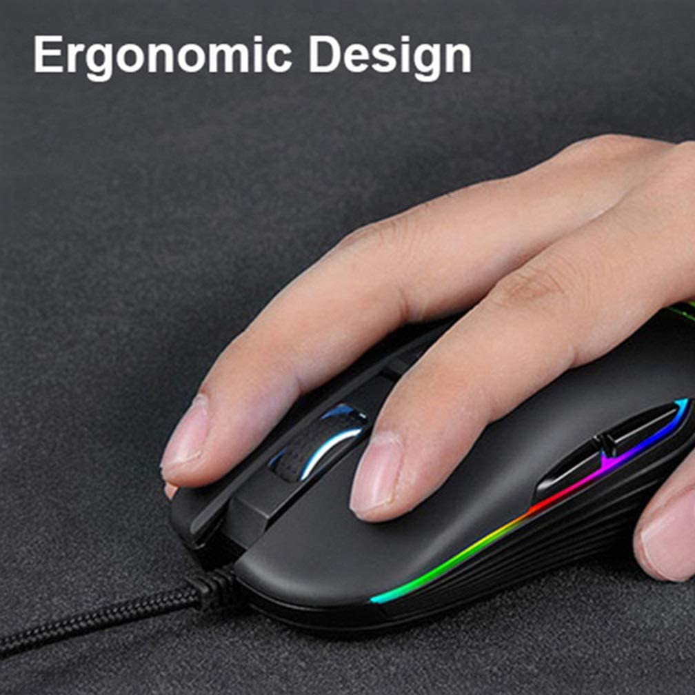 YOUXIA Wired Chicken Game E-Sports Mouse Nine-Key USB Interface 4000DPI Adjustable 7 Color RGB Backlight Line Length 1.4 Meters Optical Programmable Compliance Ergonomics