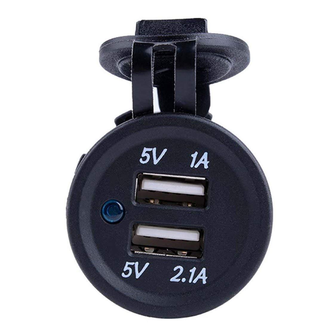 Color: Negro DF-ES Negro Impermeable Pr/áctico Duradero 12-24V Dual 2 USB Cigarrillos para autom/óvil Encendedor Enchufe Divisor Cargador Adaptador de Corriente Salida