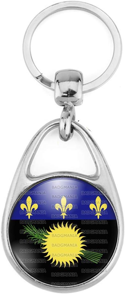Badgmania Porte Cl/és M/étal 2 Faces Logo 3cm Drapeau Guadeloupe Gwada Embl/ème Soleil Canne /à Sucre Fleur de lys