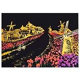 スクラッチアート MeRaPhy スクラッチ ペン セット 塗り絵 ペーパーアート 世界の夜景 オランダ風車 全10種類