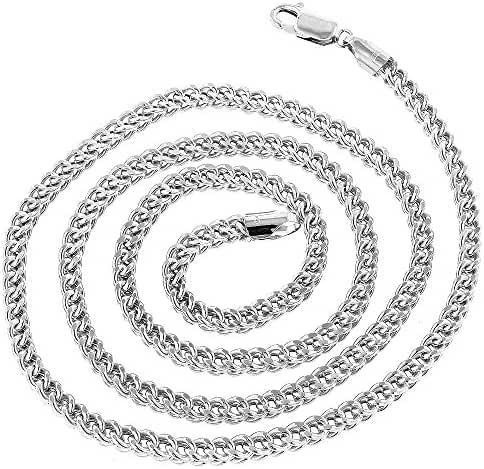 IcedTime 10k White Gold Franco Hollow Chain 4mm Wide Necklace with Lobster Clasp 20,22,24,26,30,40