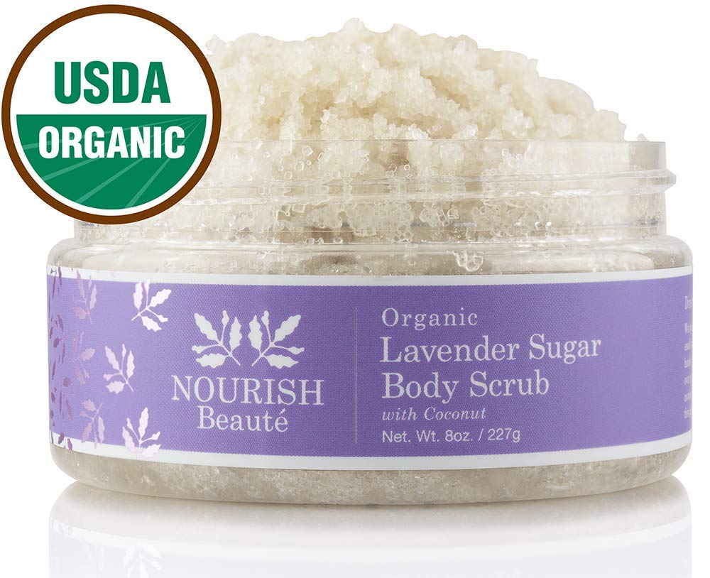 Nourish Beaute Organic Sugar Body Scrub for Exfoliation and Cellulite, Hydrates and Moisturizes Skin While Improving Skin Tone and Texture, 8 oz Lavender