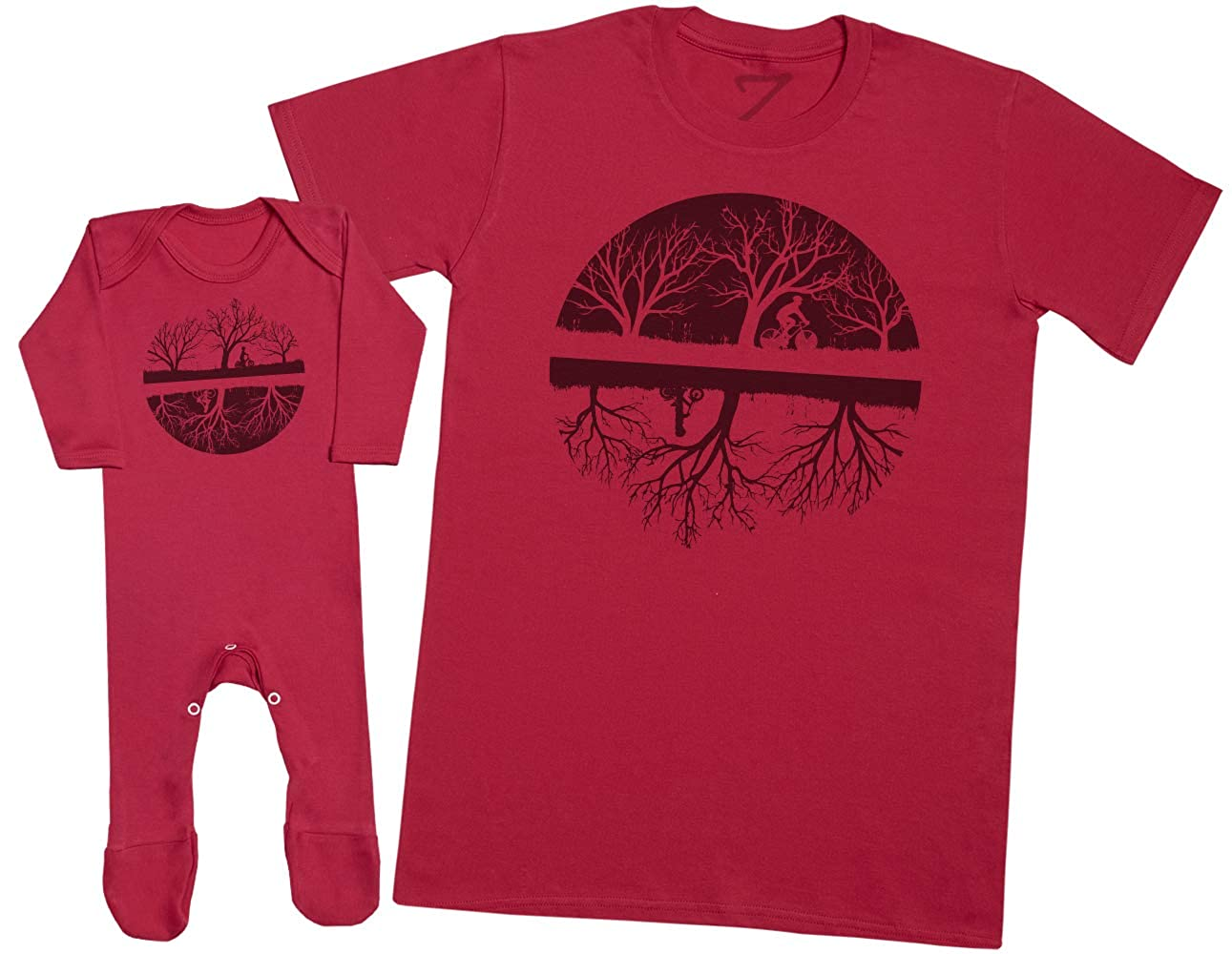 Upside Down Bikers Mens T Shirt /& Baby Romper Matching Father Baby Gift Set