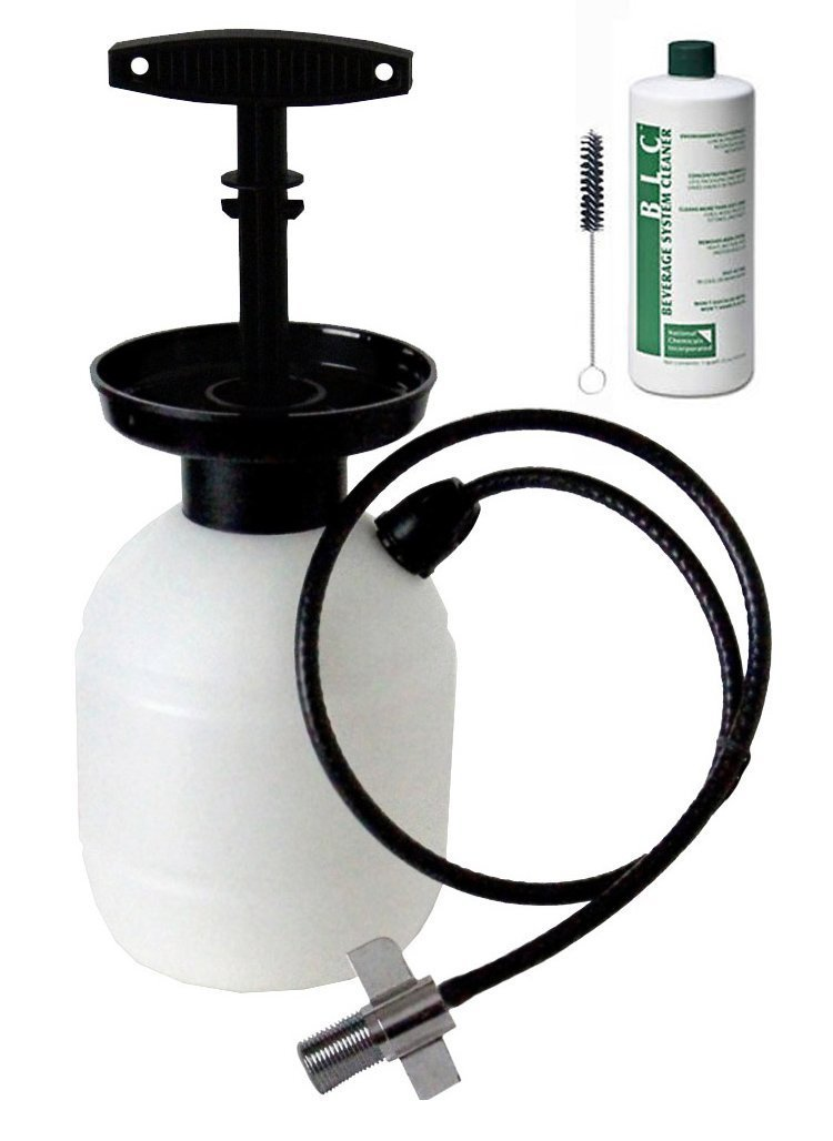 Kegco Deluxe Hand Pump Pressurized Keg Beer Cleaning Kit PCK with 32 Ounce National Chemicals Beer Line Cleaner (Set of 2)