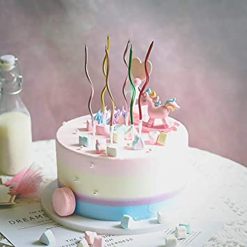 Assorted Curly Twist Birthday Candles Pack of 12 Unisex Party Decoration Candles