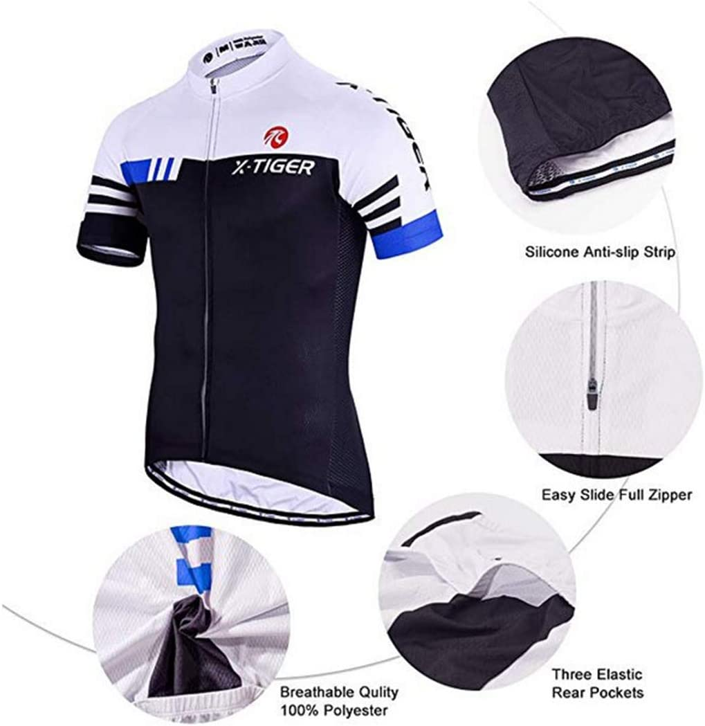 X-TIGER Maillot de Cyclisme Manches Courtes Homme avec Cuissard /à Bretelle 5D Gel Rembourr/é,Cuissard VTT Courtes Respirant V/êtements de Cyclisme Short /à Bretelle