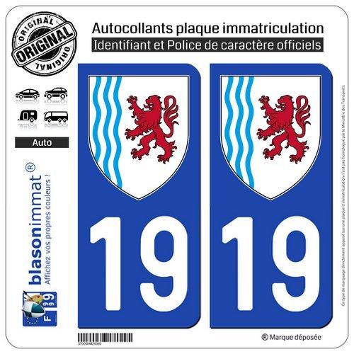 blasonimmat 2 Autocollants Plaque immatriculation Auto 19 Nouvelle-Aquitaine - Logotype