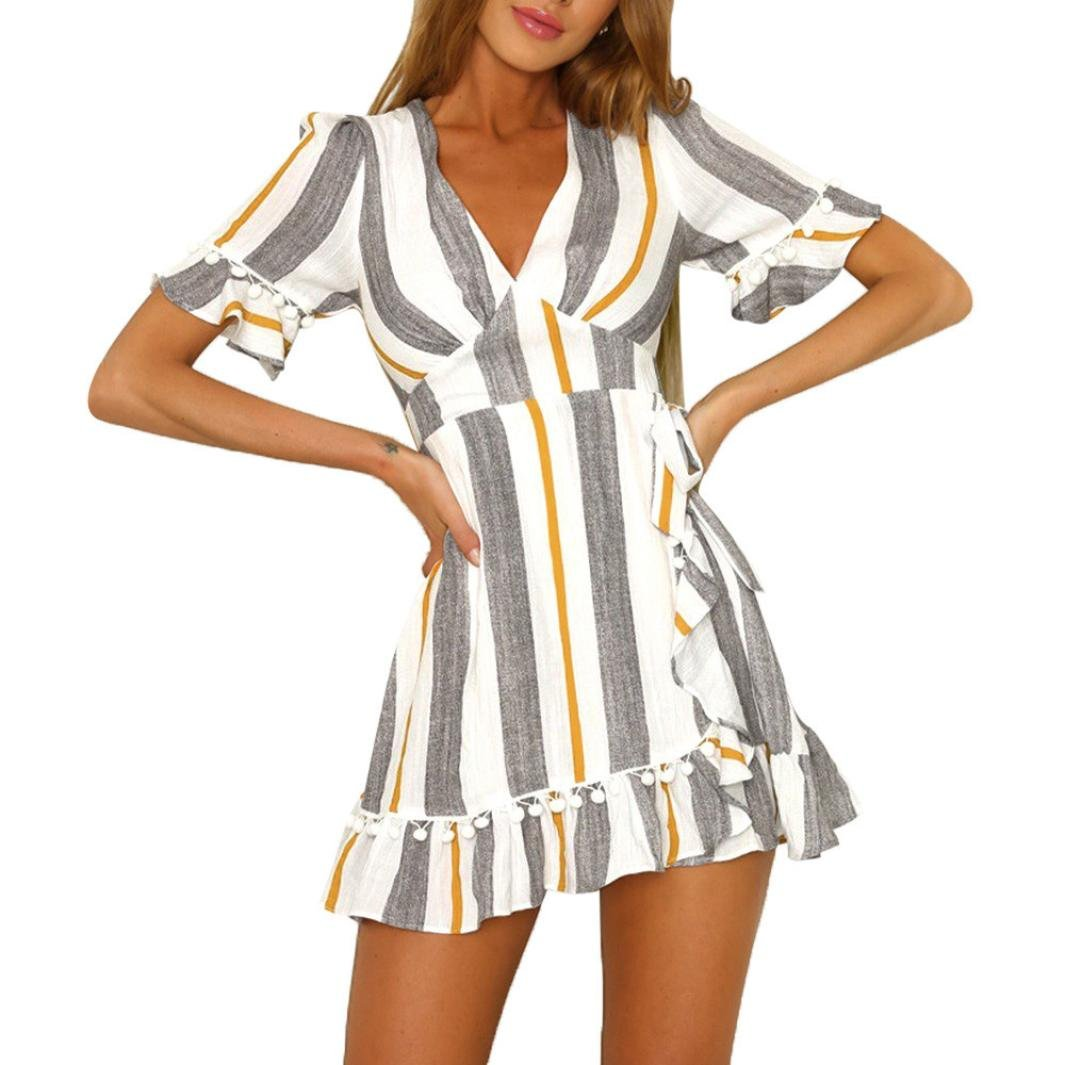 Mini Dresses, KESEELY Women Striped Printed High Waist Dress Sexy Deep V-Neck Patchwork Dress (XL, Yellow)
