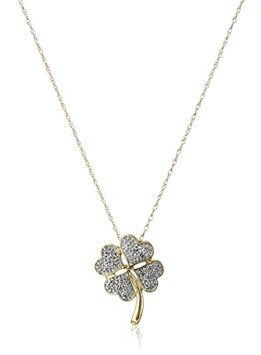 Amazon 10k yellow gold diamond four leaf clover pendant 10k yellow gold diamond four leaf clover pendant necklace 18quot mozeypictures Image collections