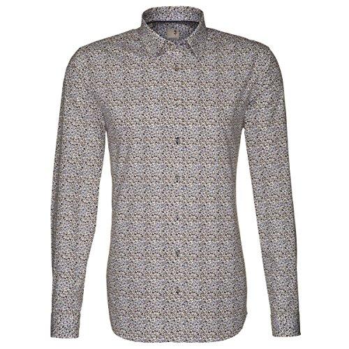 Seidensticker chemise pour homme coupe slim noir/motif fleurs de rose multicolore/taille 39–46 229250.16