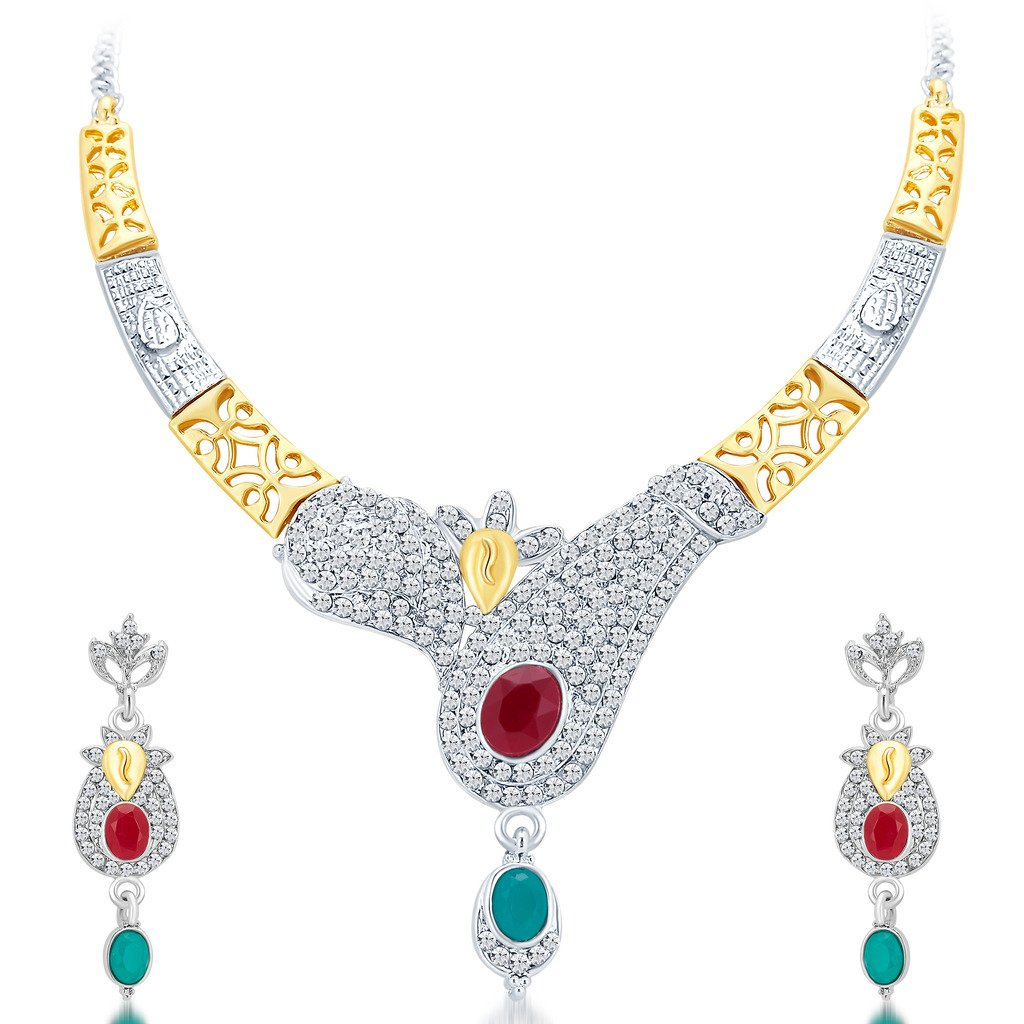Sukkhi Women's Glorious Gold And Rhodium Plated Ad Necklace Set 40