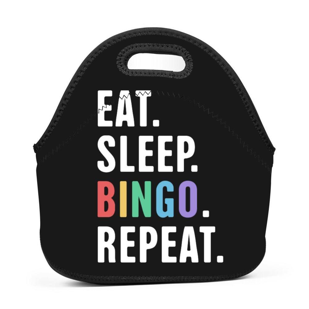 CsUaO Stylish 3D Printing Eat. Sleep. Bingo. Repeat. Designed Handbag/Tote Lunch Bag/Bento Bag/Picnic Box by CsUaO