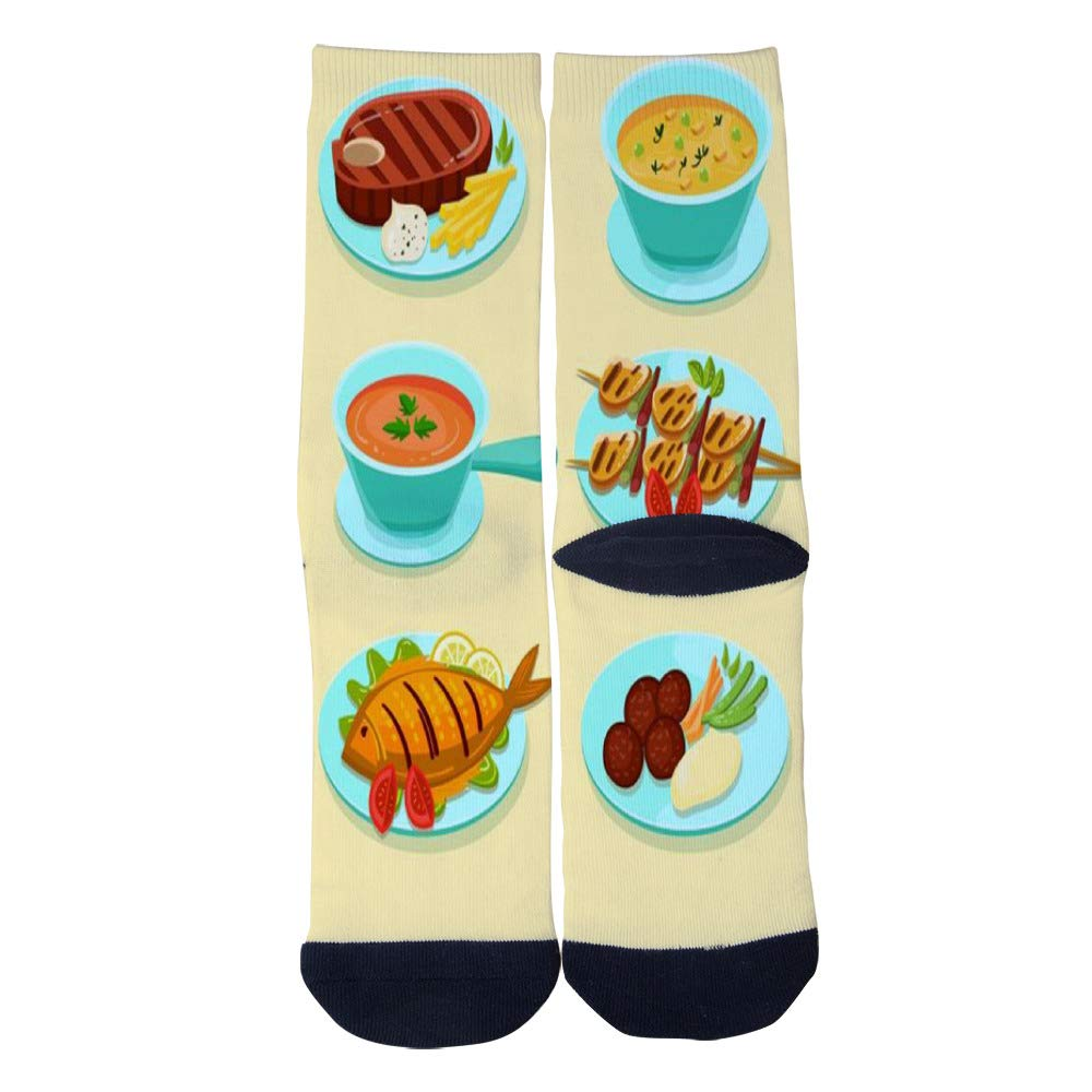 Mens Womens Casual Delicious Nutritious Lunch Socks Crazy Custom Socks Creative Personality Crew Socks