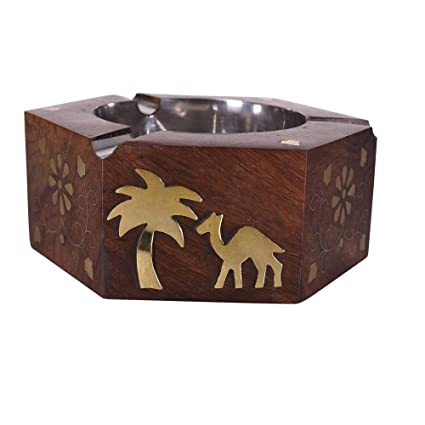 Desi Karigar Wooden Ash Tray Showpiece Brown Color