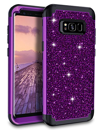 Lontect Compatible Galaxy S8 Case Luxury Glitter Sparkle Bling Heavy Duty Hybrid Sturdy Armor High Impact Shockproof Protective Cover Case Samsung Galaxy S8, Shiny Purple/Black