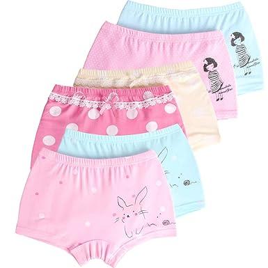 c6380164fd LeQeZe 6er Pack Kinder Mädchen Pantys Unterhose Baumwolle Schlüpfer  Unterwäsche Boxershorts Slips 2-11 Jahre