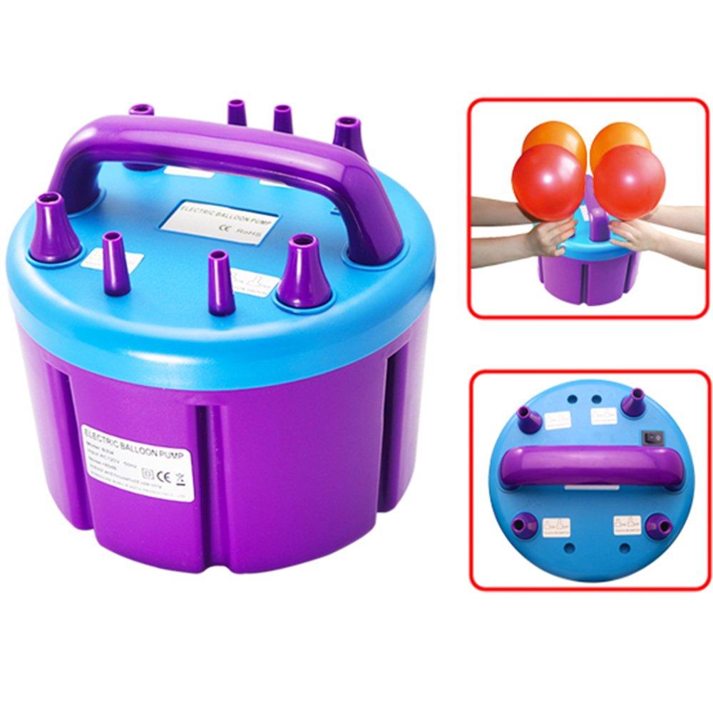 Vogvigo Inflador de bomba de globo eléctrico portátil, Bomba de aire de cuatro inyectores para Cumpleaños, Bodas o Party(Púrpura -1000w)