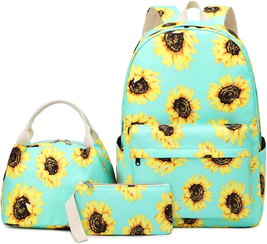 "Lmeison Sunflower Backpack with Lunch Bag Pencil Case, Waterproof Floral Bookbag for Teen Girls, Lightweight Women Travel Daypack 15"" Laptop Bag for School, Green"