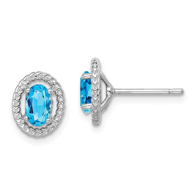 925 Sterling Silver Rhodium-plated Oval Light Blue Topaz December Stone Stud Post Earrings