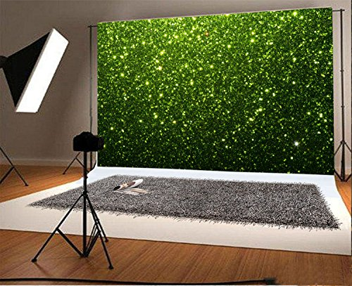 Laeacco 7x5ft Vinyl Photography Backdrop St.Patrick's Day Green Bokeh Spots Abstract Wallpaper Photo Background Children Baby Adults Portraits Green Glitter Texture Christmas Abstract ()