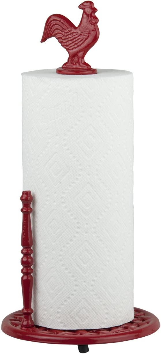 Home Basics Cast Iron Rooster Paper Towel Holder Dispenser Stand, Easy One-Handed Tear for Kitchen Countertop – Standard Paper Towel Roll, Weighted Base and Anti-Slip, Red