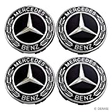 Searlleng 4 Pieces 75mm Black Center Wheel Hub Caps for Mercedes-Benz,Applicable to All Models