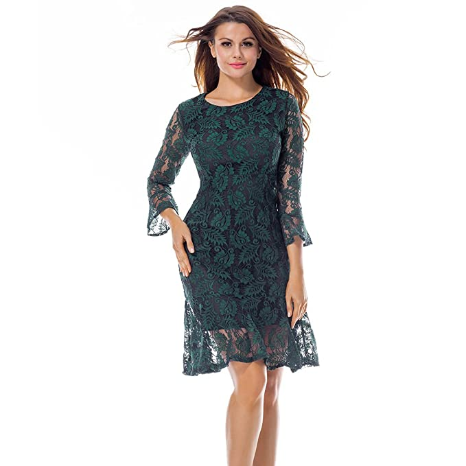 CINDY LOVER Womens Back to School Party Long Sleeve Full Floral Lace Elegant Cocktail Swing Dress at Amazon Womens Clothing store: