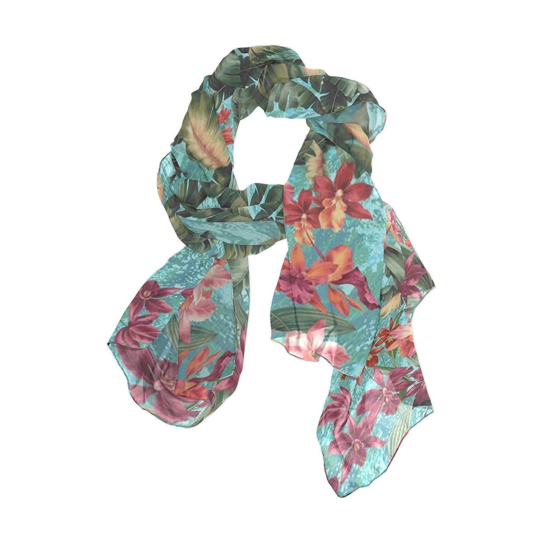 Senya Women's Fashion Large Long Sheer Silk Scarf Shawl Wrap, Tropic Fantasy Seaspray