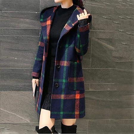 LUCKYCAT Abrigo de Lana con Bolsillo de Manga Larga con Capucha con Botones a Cuadros de Moda de Mujer