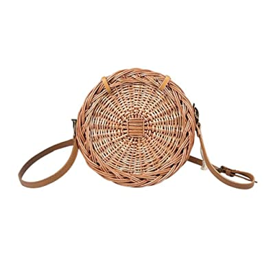 Rattan Bag Round Bag Round Beach Bag Women Rattan Holiday Travel Wild Handmade Travel Vacation Perfect Gift For Women Luggage & Bags