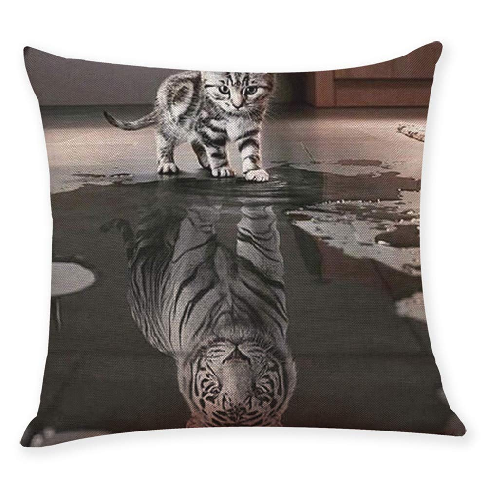 Pgojuni Tiger Lion Printing Linen Blend Throw Pillow Cover Cushion Cover Pillow Case Home Decor 1pc (45cm X 45cm) (A)