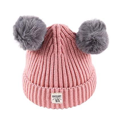 ffdd8187545af2 Amazon.com: Little Kids Solid Color Winter Warm Hat,Jchen(TM) Baby Kids  Beanie for Boys Girls Cap Cotton Knitted Ball Warm Hats for 2-8 Y (Pink):  Garden & ...