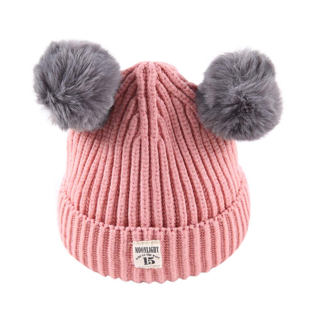 Xshuai Baby Hat for 2-8 Years Old Kids Fashion Newborn Infant Toddler Cute Winter Warmer Ball Cap Baby Girl Boy Letter Hats Knitted Wool Hemming Hat (Pink)