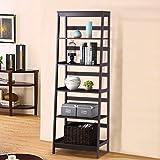 Yaheetech 5-Tier A Frame Wood Ladder Shelf Bookcase Multifunctional Storage Rack Display Shelf for Plants, Dark Espresso