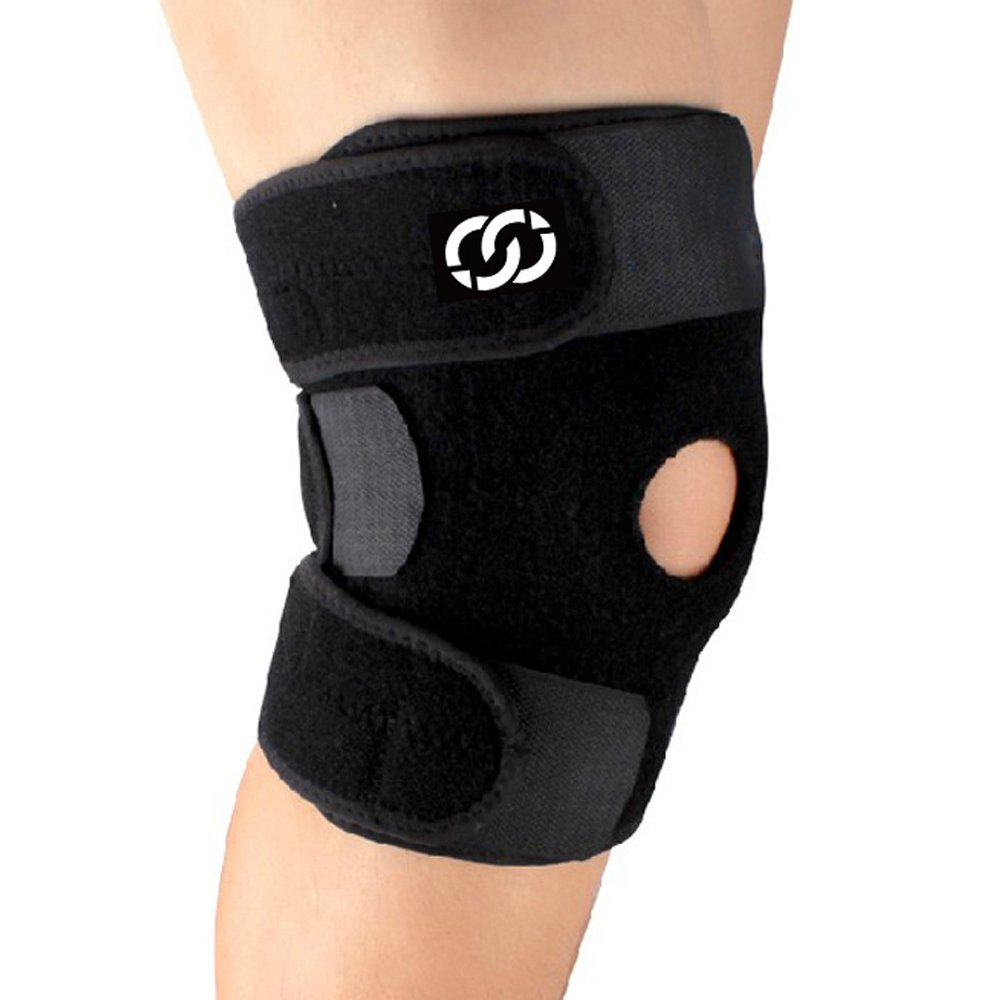 Compressions Knee Brace Support - Neoprene Open Patella Stabilizer with Adjustable Veclro - Best for Meniscus Tear, Arthritis, ACL, MCL, Sports, Running, Basketball for Men & Women