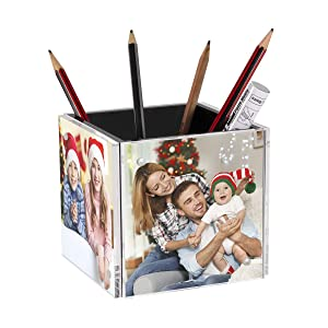 NIUBEE 4-Sided Cube Photo Frame Block, Acrylic Desktop Picture Pencil Box Holder in Black, Unique Desk Pen Organizer for Home Office Table Supplies