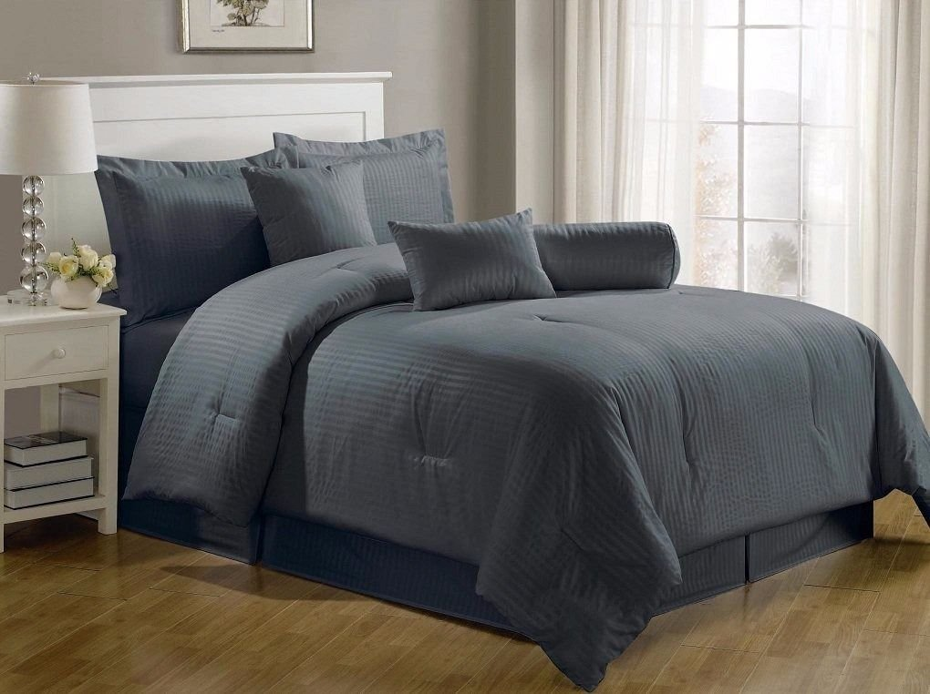 Chezmoi Collection 7-piece Hotel Solid Dobby Stripe Comforter Set Full, Gray