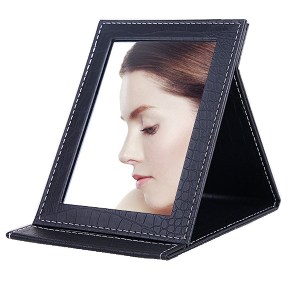 Makeup Mirror Vanity Mirror Folding Tabletop Mirror with PU Leather Cushioned Cover(Small, Black)