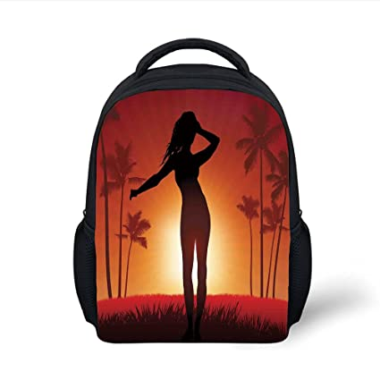 5d86acf3faea Amazon.com: iPrint Kids School Backpack Girls,Silhouette of Female ...