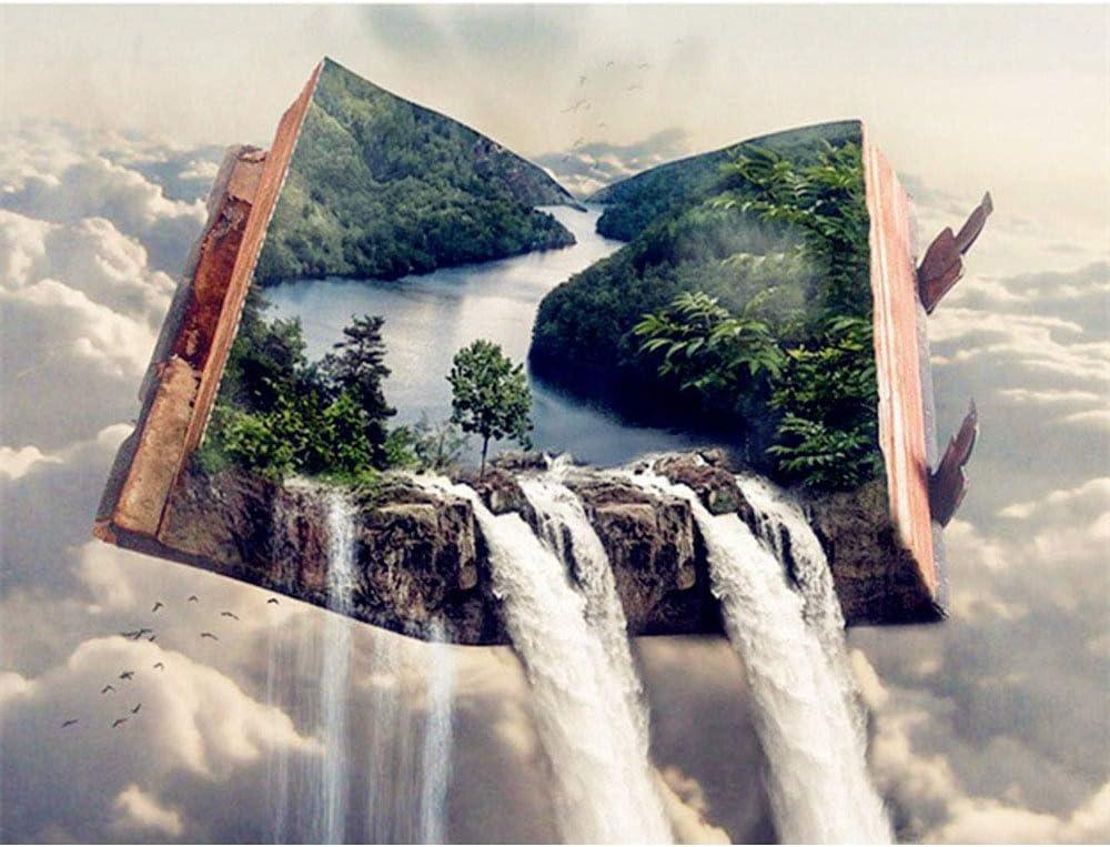 Diamante pintura libro cascada paisaje completo redondo