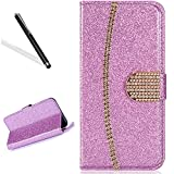 Wallet Case for Huawei P10,Bling Glitter Folio Case for Huawei P10,Leecase Luxury Noble Sparkle Shining Gold Chain Design Cover for Huawei P10