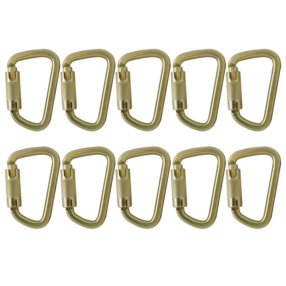 Fusion Climb Tacoma Steel Auto Lock with Key Nose Modified D-shaped Carabiner 10-Pack