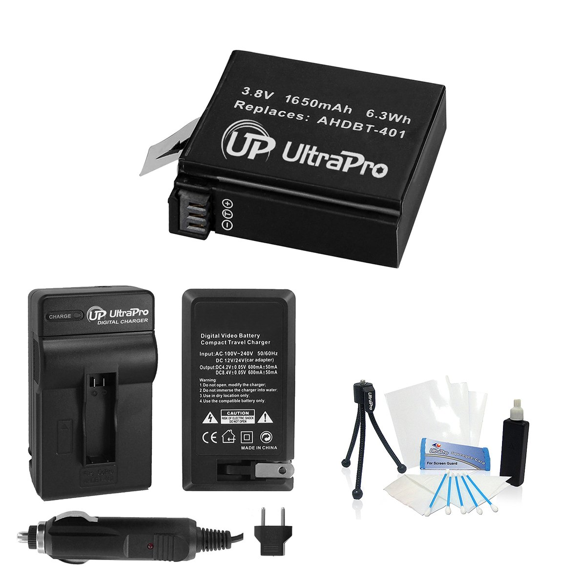 UltraPro AHDBT-401 High-Capacity Replacement Battery with Rapid Travel Charger for GoPro Hero4 Black, Hero 4 Silver Digital Cameras. Bundle Includes UltraPro Accessory Set