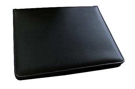 Alassio 30003 - Cartera de viaje con anillas y fundas de plástico, color negro