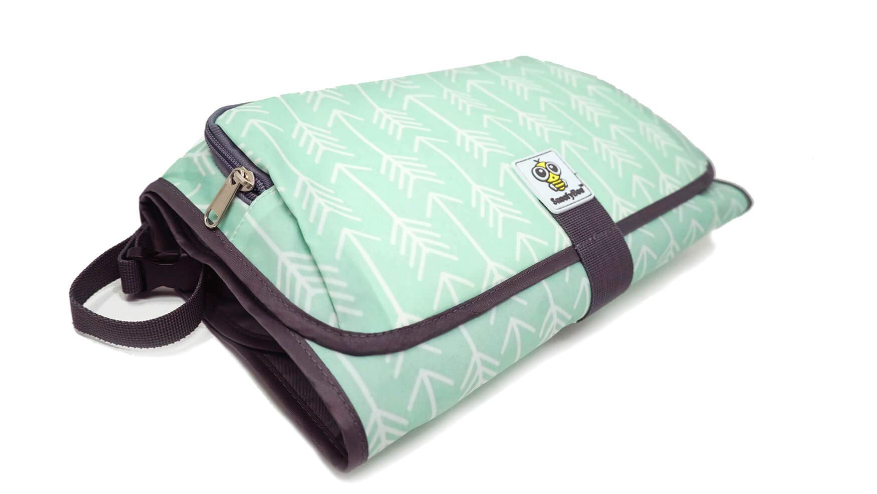 SnoofyBee Large Baby-Changing Travel Pad Diaper Clutch, Accessories for Babies Clean Hands Changing Pad Excursion Edition (Mint Arrow) by SnoofyBee (Image #2)