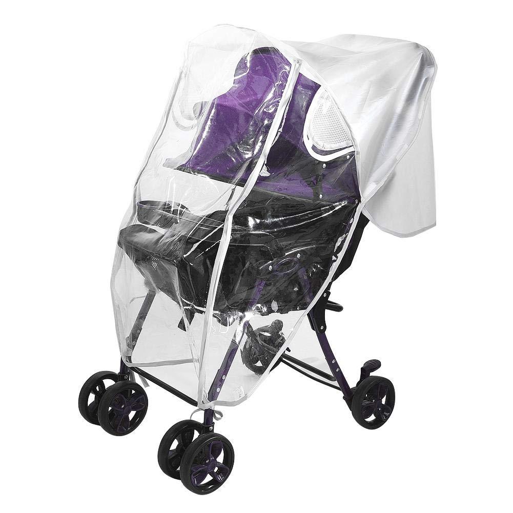 Eva Doppelrei/ßverschluss Kinderwagen Regenschutz Baby-Reisewetter-tragbares spezielles Fenster-Windschutzscheiben-Regenschutz-Kinderwagen-Zubeh/ör mit doppeltem Rei/ßverschluss