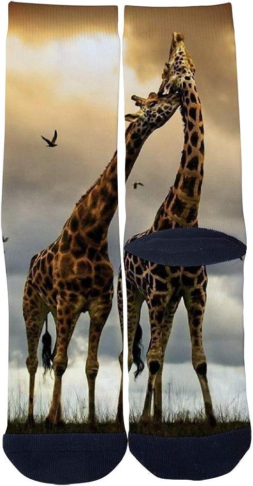 Mens Womens Casual A Pair of Giraffes With Love Socks Crazy Custom Socks Creative Personality Crew Socks