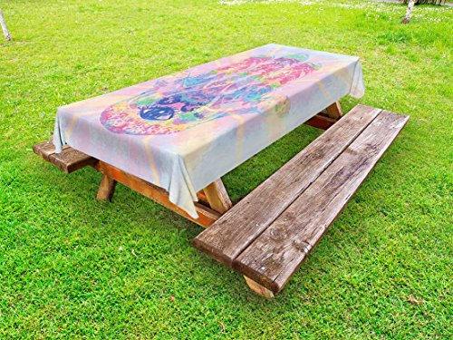 Ambesonne Hamsa Outdoor Tablecloth, Spiritual Energy Flow Aura Inspired Design Harmony Yoga Meditation Theme, Decorative Washable Picnic Table Cloth, 58 X 104 inches, Aqua Pale Pink Peach by Ambesonne